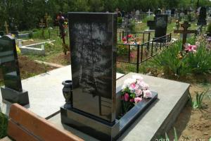 гравировка на памятнике из габро : березка